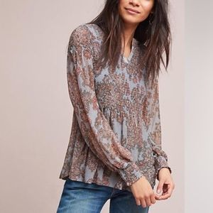 Akemi and Kin Adria smocked paisley top